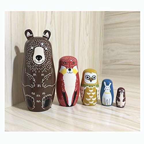 QIFFIY Muñecas Rusas Muñecas de anidación Rusa para niños niños pequeños Oso de Madera Owl Matryoshka Muñecas 5pcs Lindo Dibujos Animados Animal Hecho a Mano Regalos Matryoshka (Color : Brown)