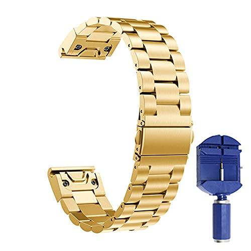 XIAOFANG 20 22 2 6MM Ajuste de la Banda de Acero Inoxidable para Garmin Fenix 5 5S 5X / 6S 6X Pro / 945 / QUATIX 5 Pulsera Correa Ajuste rápido Metal Reloj Correa Correa