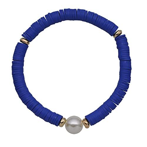 SJHFG Pulsera elástica de perlas de terracota suave, hecha a mano, ajustable, pulsera elástica para mujer, color azul real