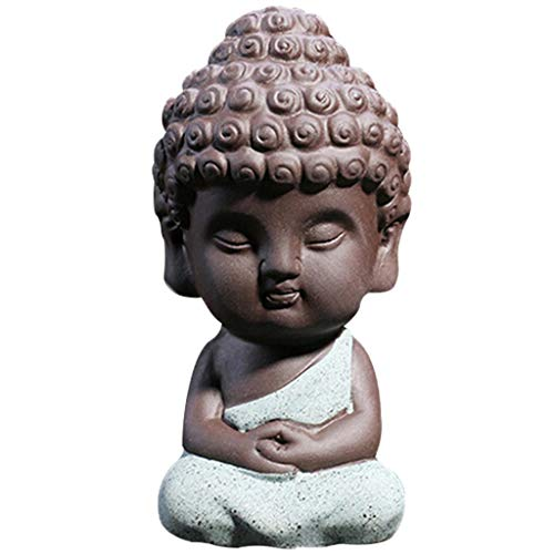 JETTINGBUY Cute Small Buddha Statue Monk Figurine tathagata India Yoga Mandala Sculptures (Blue)