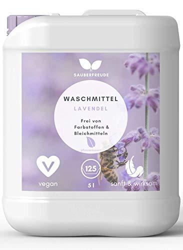Sauberfreude Flüssigwaschmittel Lavendel - 5 L nachhaltiges Vollwaschmittel (125 Waschladungen) - Waschmittel mit pflanzenbasierten Inhaltsstoffen für bunte und weiße Wäsche - biologisch abbaubar