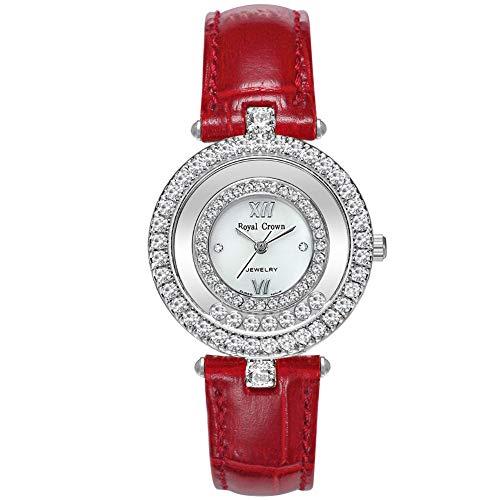 RC ROYAL CROWN Women's Fashion Leather Wrist Watches with Austria Drill Japanese Quartz Movement