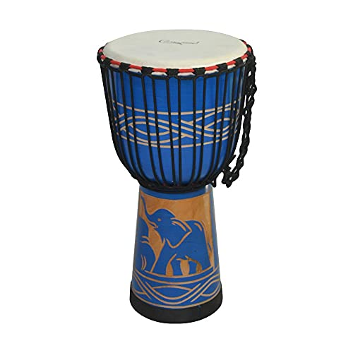 TOPHUHAI Cambudo 10 Pulgadas de Madera African Drum Djembe Mano Tambor Percusión Instrumento Musical Material de Caoba con patrón de Elefante Azul