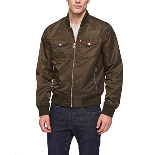 Levi's Men's Varsity Bomber Trucker Jacket, Olive, Large