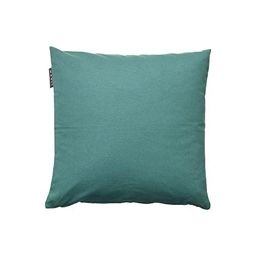 LINUM Annabell Housse de Coussin (Gris Foncé/Turquoise, 40x40 cm)