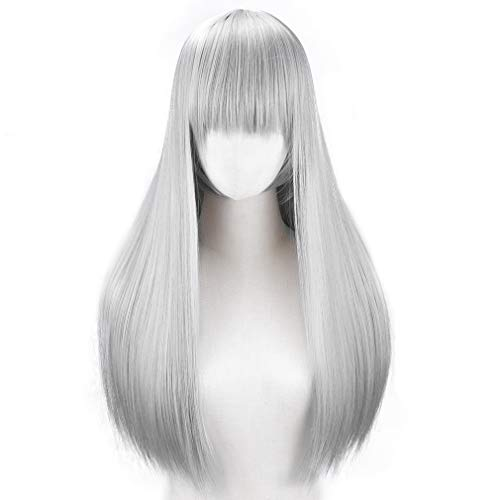 YOGFIT Lina Women's Long Straight Costume Wig with Bangs for Halloween Cosplay Party - Silver Grey