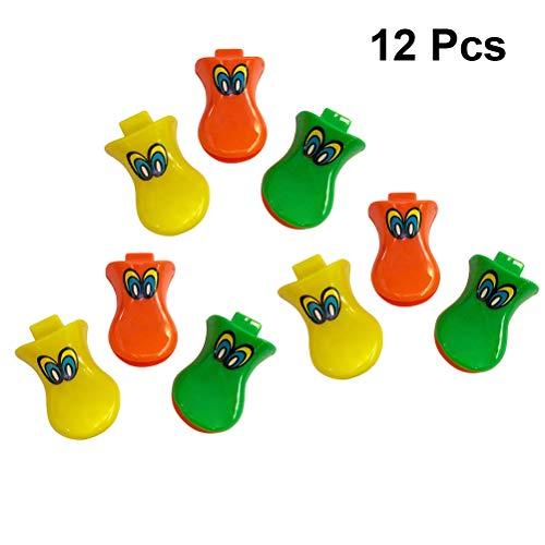 TOYANDONA 12Unidades Silbato de Pato de Plástico Silbato Juguetes Deslumbrantes para Niños Fiesta Cumpleaños (Color Aleatorio)