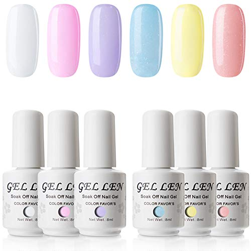 Gellen Gel Nail Polish Set, Juicy Candy Series - 6 Colors Cute Fresh Bright Subtle Sparkle Nail Art Colors, Home Gel Manicure Kit