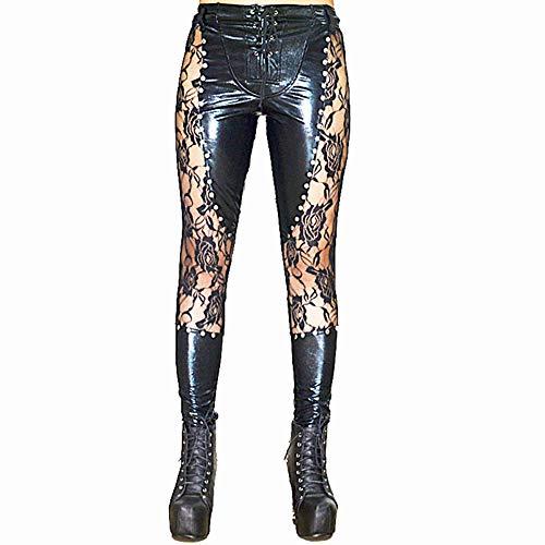 WSXKA Pvc Lackleder Kleid Sexy Clubwear Kleidung Sexy Gamaschenhosen Lackleder Sexy Lederhose Erotische Leder/A/L