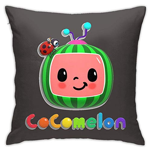 Tengyuntong Cocomelon Throw Square Throw Pillow Cover/Funda de Almohada Cocomelon Throw Home Dormitorio Sala de Estar Decoración Decorativa para el hogar Funda de Almohada Cuadrada de 18x18 Pulgadas