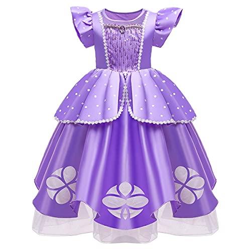 MYRISAM Vestidos de Princesa Sofia para Niñas Disfraz de Carnaval Rapunzel Traje de Halloween Navidad Cumpleaños Fiesta Ceremonia Aniversario Cosplay Vestir 3-4 años