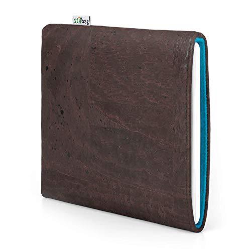 stilbag eReader Hülle VIGO für Kobo Libra - H2O | eBook Reader Tasche - Made in Germany | Kork braun, Wollfilz Azur