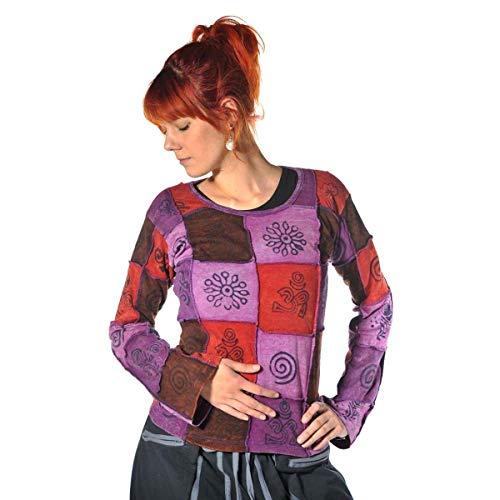 Patchwork Shirt Pullover Oberteil Sweatshirt Zip Hoodie Freizeitshirt Hippie Goa PSY Sweater Asha (Lila, XL)