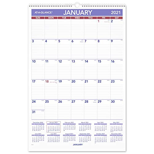 2021 Wall Calendar by AT-A-GLANCE, 15-1/2' x 22-3/4', Large, Monthly, Wirebound (PM32821)
