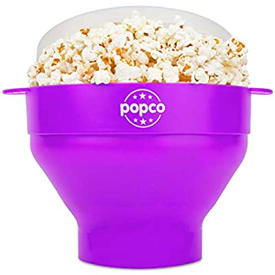 The Original Popco Silicone Microwave Popcorn Popper with Handles, Silicone Popcorn Maker, Collapsible Bowl Bpa Free and Dishwasher Safe - 15 Colors Available (Purple)