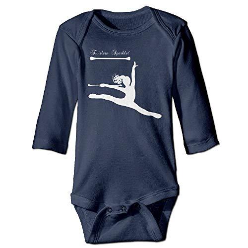 FULIYA Body de manga larga para beb, unisex, para beb, baton Twirling, para nias, de manga larga, traje de sol, color azul marino