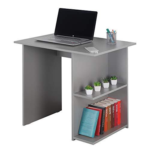 RICOO WM089-PL Escritorio pequeño 82x76x60cm Mesa Ordenador Organizador Oficina Muebles de hogar Buro PC Gaming Secreter Madera Gris