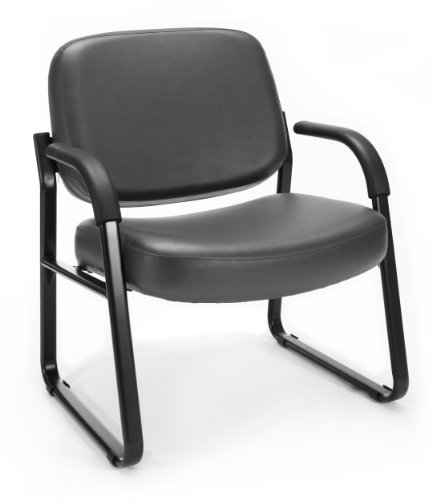 OFM Core Collection Big and Tall Guest and Reception Chair with Arms AntiMicrobial/AntiBacterial Vinyl in Charcoal