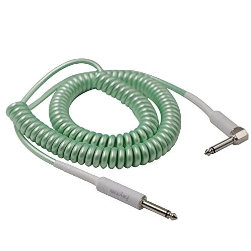 Rayzm Cable de Guitarra bobinado,Cable de Instrumento de 5 Metros en Espiral para Guitarra/Bajo, 6,35 mm Cable de Guitarra de Ángulo Recto (Verde)