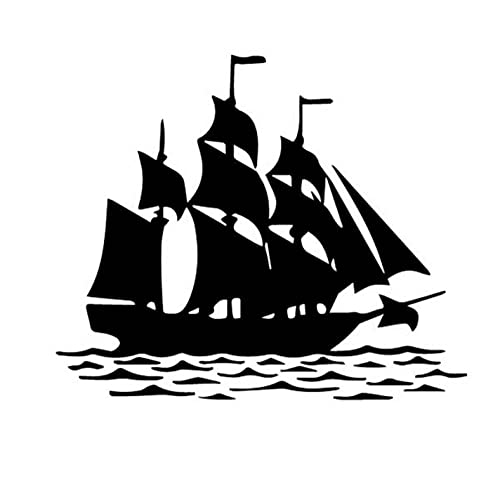 Bbdyhyrqcd 3 Piezas Pegatinas de coche-17,7 CM * 14,9 CM Barco de Vela océano mar Agua ondulación Vinly calcomanía decoración Arte Coche Pegatina