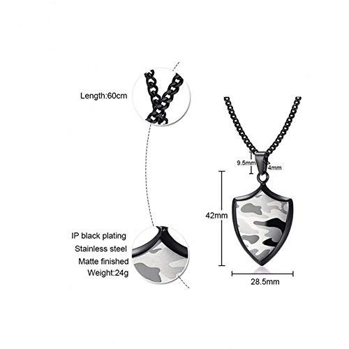 VBNMG Collar Hombre Collar Colgante Escudo Camuflaje