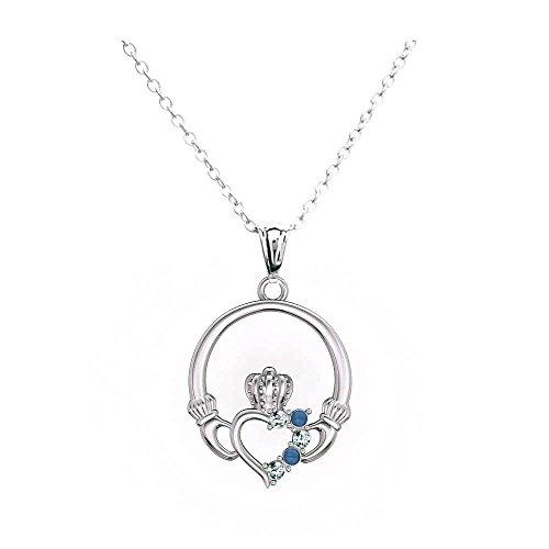 EVBEA Halskette Damen Anhänger Claddagh mit Zirkonia Herz Rot Schmuck Liebe mit Kette Halskette Anhänger Schmuck