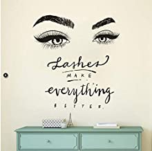BooDecal Quote Series Lashes Make Everything Better Eyes Wall Decal Eyelashes Wall Mural Art Decor Sticker Make Up Wall Decal Girls Eyes Eyebrows Beauty Salon Decoration Makeup Wall Sticker
