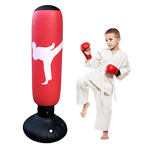 Hamnor Standboxsäcke Boxsack Kinder Weiße Menschen Aufblasbarer Fitness-Boxsack für Kinder und Erwachsene 160 cm großer Trainings-Boxsack freistehend