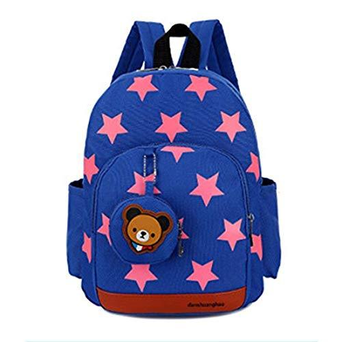 GWELL Stern Babyrucksack Kindergartenrucksack Kleinkind Kinder Rucksack Mädchen Jungen Backpack Schultasche blau
