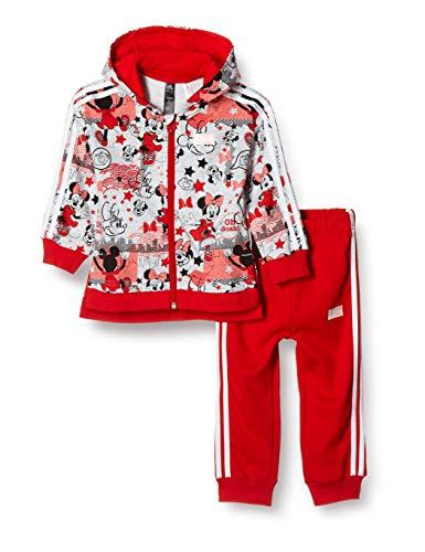 adidas Inf Dy Mm Jog, Tuta Unisex Bimbi, Top:Light Grey Heather/Vivid Red/White Bottom:Vivid Red S13/White, 3-6M