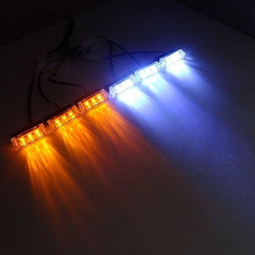 Viktion DC12V 5W 6 * 3 LEDs Feux de Pénétration Lumière Stroboscopique Eclairage Clignotant à 3 Modes pour Voiture Camion véhicule SUV (Jaune & Blanc)