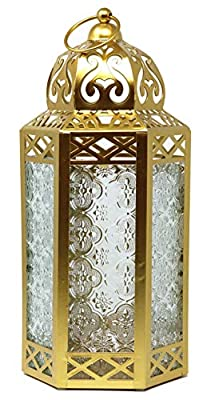 Decorative Candle Lantern with LED Fairy Lights for Living Room Decor, Large, Gold by Vela Lanterns