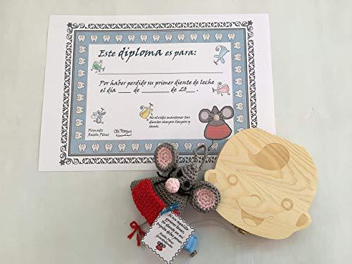 Ratoncito Pérez guardadientes con Diploma de su primer diente caído, caja de recuerdo para guardar los dientes y colgante de regalo para guardar el diente caído.