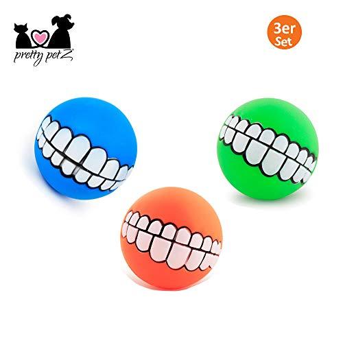 Pretty petZ® Grappige hondenbal (3-delige set] | Brede grijnsprint voor speelplezier | Pieptouw voor kleine en grote honden | + Gratis e-book, Boy, blauw, oranje, groen.