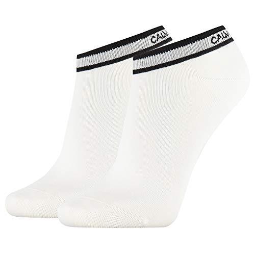 Calvin Klein Socks Womens Liner 2p Logo Cuff Stripe Spencer Socks, White, ONE SIZE