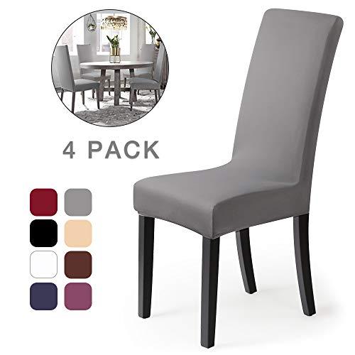 Housse de chaise Décor 4 pièces housse de chaise Stretch-Housse Couverture de chaise de matériau spandex élastique pour un ajustement universel, très facile à nettoyer et durable (Paquet de4,Gris)