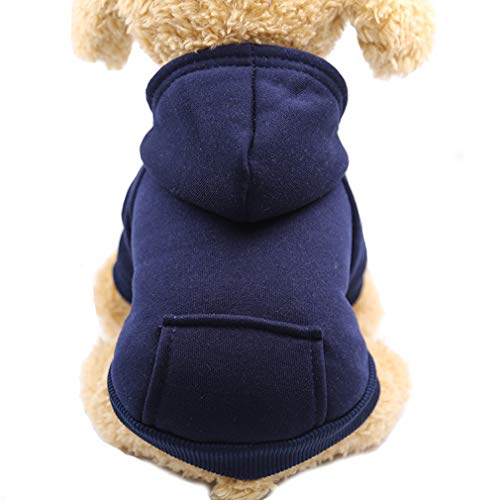 Fashion Focus On New Winter Dog Hoodie Sweatshirts with Pockets Cotton Warm Dog Clothes for Small Dogs Chihuahua Coat Clothing Puppy Cat Custume (X-Small, Navy)