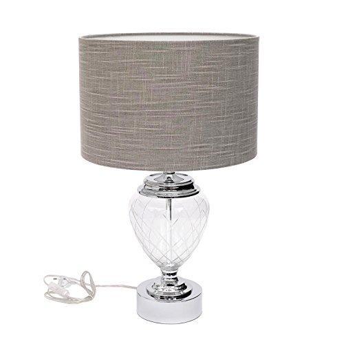 Design Tischlampe Tischleuchte Metall + Geschliffenes Glas + Lampenschirm Stoff Rund Modern Retro Neu Wohnzimmer E27 + Brillibrum Flyer Geschenke Geschenkidee