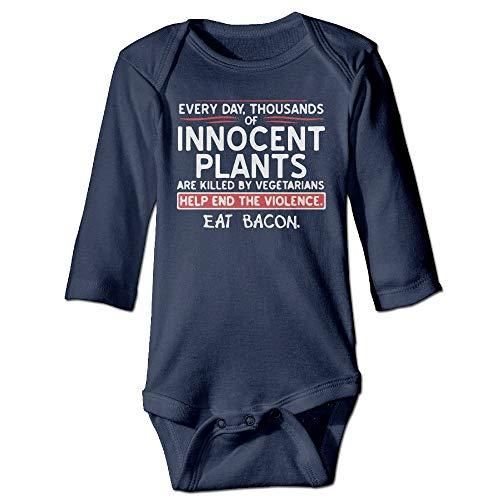 FULIYA Baby Crawler Baby Jersey Bodysuit Long Sleeve Bodysuit Baby,Unisex Toddler Bodysuits Eat Bacon Baby Babysuit Long Sleeve Jumpsuit Sunsuit Outfit Navy 24M