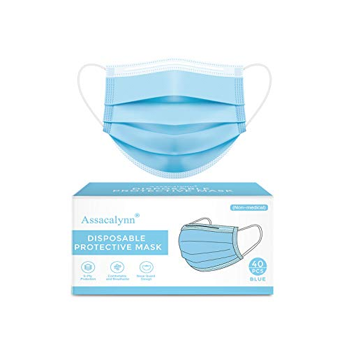 40pcs Boxed Disposable Face Masks, Breathable 3-Layer Safety Masks - Blue