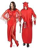 Generique - Disfraz de Pareja Diablo Rojo Halloween Única