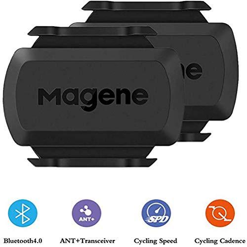 Ant+ Capteur de Vitesse Capteur de Cadence Bluetooth sans Aimant sans Fil Compatible Compteur de Vélo Double Module - Noir