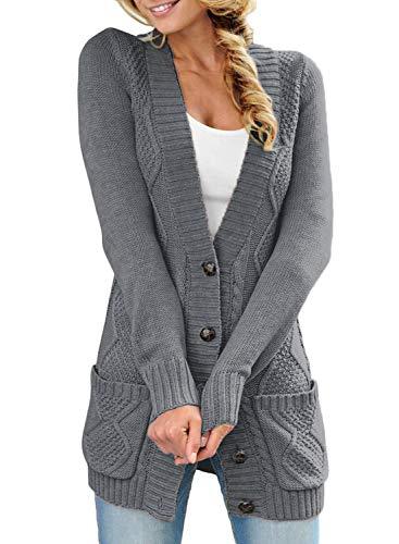 Roskiky Damen Strickjacke mit Knopfleiste vorne, langärmelig und Zopfmuster Dunkelgrau Größe M