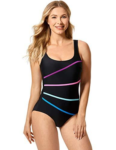 DELIMIRA Damen Große Größen Bauchweg Figurformend Badeanzug Einteilege - mit U-Ausschnitt und Gestreift Schwarz 50