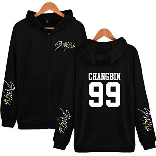 Forever Younger Stray Kids Reißverschluss Mantel Jacken Langarm Sweatshirt Minho Jisung Woojin Changbin Felix (5,L)