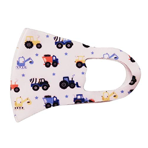 La Loria Mund-Nase-Bedeckung für Kinder - Maske waschbar atmungsaktiv staubabweisend, ab 6 Jahre (Fahrzeuge)
