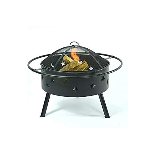 LBSX Products Steel Outdoor Fire Pit Bowl BBQ Grill w/Screen Cover, Log Grate, Poker for Camping, Bonfire and Round Fireplace Cover