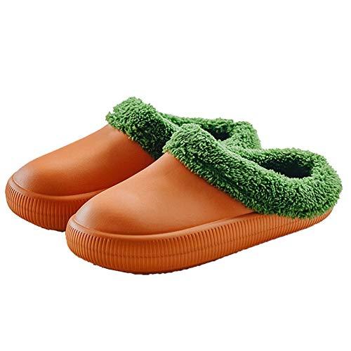 DALLL Winter Hausschuhe Herren Damen,Bequeme Pantoffeln Für,Utschfeste Outdoor/Indoor,Wasserdicht,Zwei Warme Materialien,Orange,5.5/6