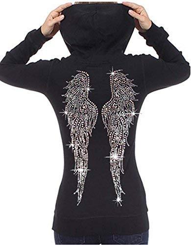 Juniors Huge Angel Wings Rhinestone Thermal Zipper Hoodie Black S-XL (L (Juniors), Black)