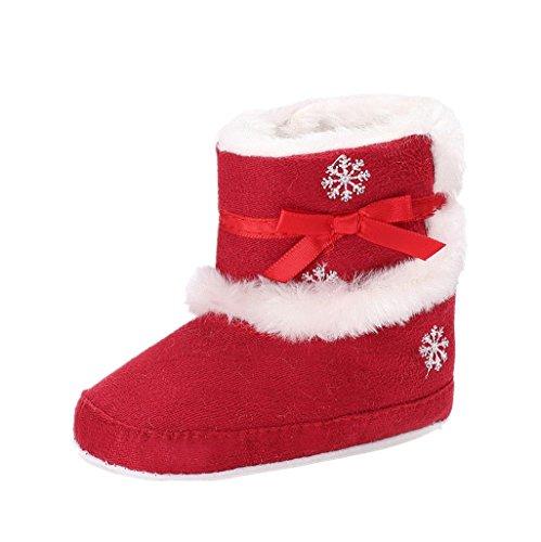 Auxma Baby Stiefel Baby-Mädchen-Winter-warme Schneeschuhe Weihnachtsschuhe Säugling Krabbel Hausschuhe für 0-18 Monate (12cm/6-12 Monate, Rot)